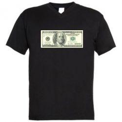 Мужская футболка  с V-образным вырезом Американский Доллар - FatLine