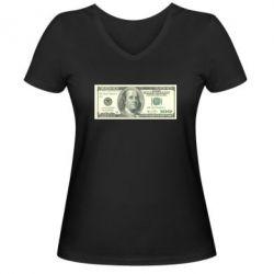 Женская футболка с V-образным вырезом Американский Доллар - FatLine