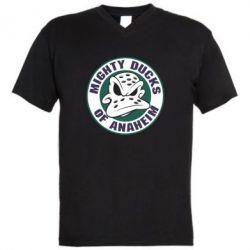 Мужская футболка  с V-образным вырезом Anaheim Mighty Ducks Logo - FatLine