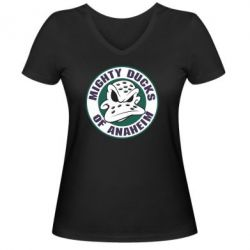 Женская футболка с V-образным вырезом Anaheim Mighty Ducks Logo - FatLine