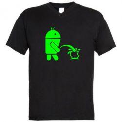 Мужская футболка  с V-образным вырезом Android унижает Apple - FatLine