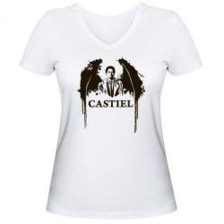 Женская футболка с V-образным вырезом Ангел Кастиэль - FatLine