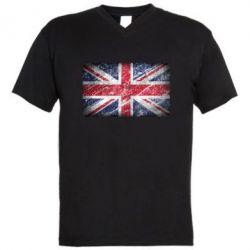 Мужская футболка  с V-образным вырезом Англия - FatLine