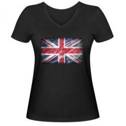 Женская футболка с V-образным вырезом Англия