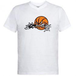 Мужская футболка  с V-образным вырезом Angry ball - FatLine