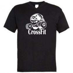 Мужская футболка  с V-образным вырезом Angry CrossFit - FatLine