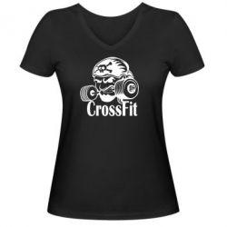 Женская футболка с V-образным вырезом Angry CrossFit - FatLine