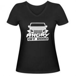 Женская футболка с V-образным вырезом Angry Off Road