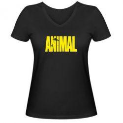 Женская футболка с V-образным вырезом Animal Logo - FatLine