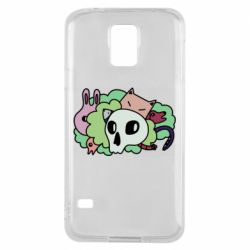 Чехол для Samsung S5 Animals and skull in the bushes