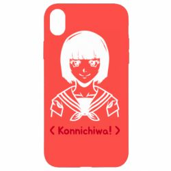 Чехол для iPhone XR Anime girl konichiwa