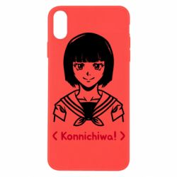 Чехол для iPhone X/Xs Anime girl konichiwa