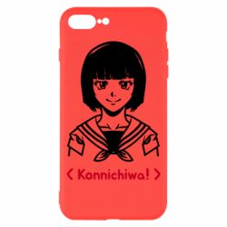 Чехол для iPhone 8 Plus Anime girl konichiwa