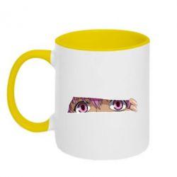 Кружка двоколірна 320ml Anime girl peeping