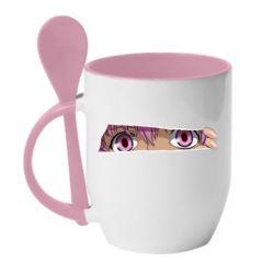 Кружка з керамічною ложкою Anime girl peeping