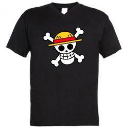 Чоловіча футболка з V-подібним вирізом Anime logo One Piece skull pirate