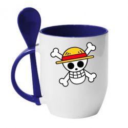 Кружка з керамічною ложкою Anime logo One Piece skull pirate