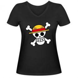 Жіноча футболка з V-подібним вирізом Anime logo One Piece skull pirate