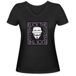 Жіноча футболка з V-подібним вирізом Anonymous