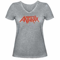 Жіноча футболка з V-подібним вирізом Anthrax red logo