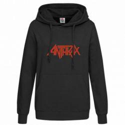 Женская толстовка Anthrax red logo