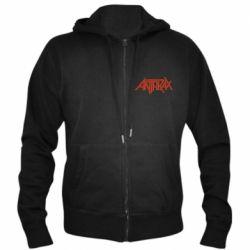 Мужская толстовка на молнии Anthrax red logo