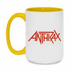 Кружка двухцветная 420ml Anthrax red logo