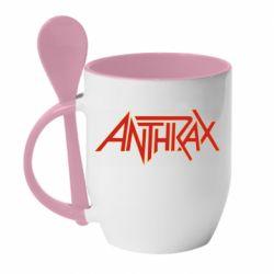 Кружка с керамической ложкой Anthrax red logo