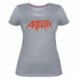 Женская стрейчевая футболка Anthrax red logo