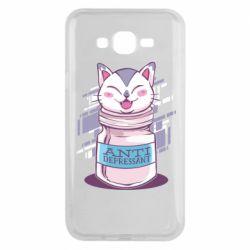 Чехол для Samsung J7 2015 AntiDepressant Cat