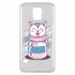 Чехол для Samsung S5 AntiDepressant Cat