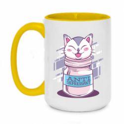 Кружка двухцветная 420ml AntiDepressant Cat