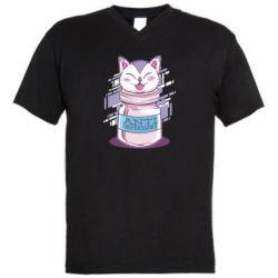 Мужская футболка  с V-образным вырезом AntiDepressant Cat