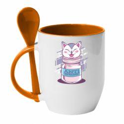 Кружка с керамической ложкой AntiDepressant Cat