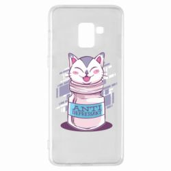 Чехол для Samsung A8+ 2018 AntiDepressant Cat