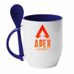 Кружка з керамічною ложкою Apex legends gradient logo