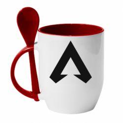 Кружка с керамической ложкой Apex legends logotype