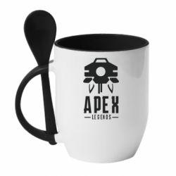 Кружка с керамической ложкой Apex Legends symbol health
