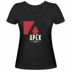 Жіноча футболка з V-подібним вирізом Apex red-black