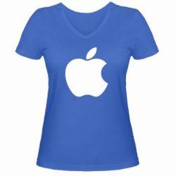Женская футболка с V-образным вырезом Apple Corp. - FatLine