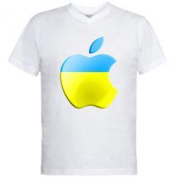 Мужская футболка  с V-образным вырезом Apple Ukraine