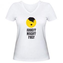 Женская футболка с V-образным вырезом Arbeit Macht Ftei Hitler - FatLine