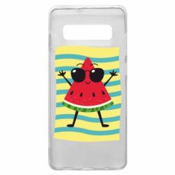 Чехол для Samsung S10+ Арбуз на пляже