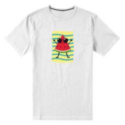 Мужская стрейчевая футболка Арбуз на пляже