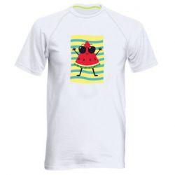 Мужская спортивная футболка Арбуз на пляже