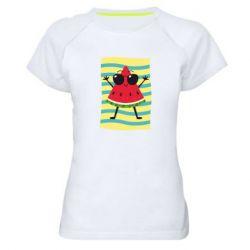 Женская спортивная футболка Арбуз на пляже