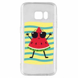 Чехол для Samsung S7 Арбуз на пляже
