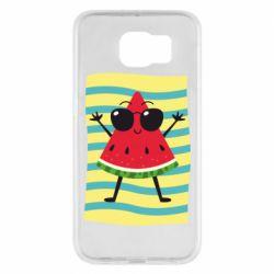 Чехол для Samsung S6 Арбуз на пляже