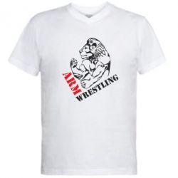 Мужская футболка  с V-образным вырезом Arm Wrestling