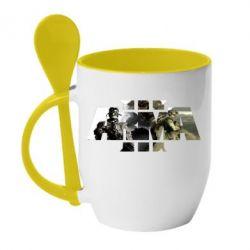 Купить Кружка с керамической ложкой Arma 3 logo, FatLine